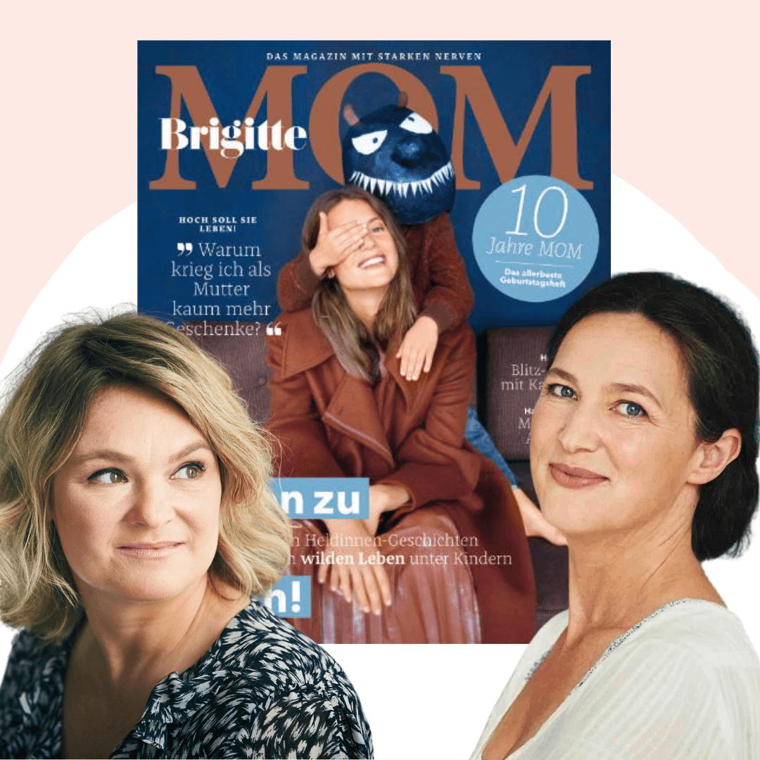 Steffi Hentschel und Angela Wittmasnn aud der Redaktion der Brigitte MOM im Mamsterrad